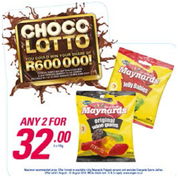 Choco Lotto Promotion - Maynards Wine Gums or Jelly Babies