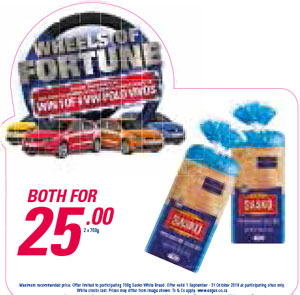 Wheel Of Fortune Promotion - Sasko White Bread